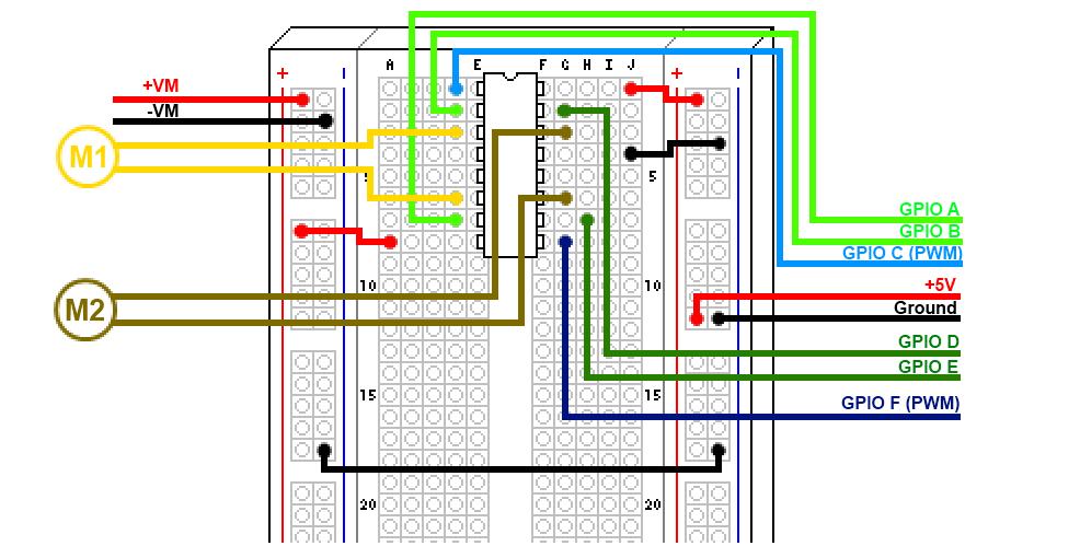 Les deux moteurs sont connectés et leur vitesse est contrôlée individuellement