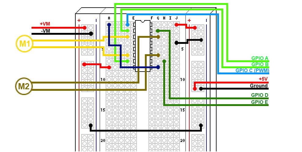 Les deux moteurs sont connectés et leur vitesse est contrôlée par une seule broche PWM
