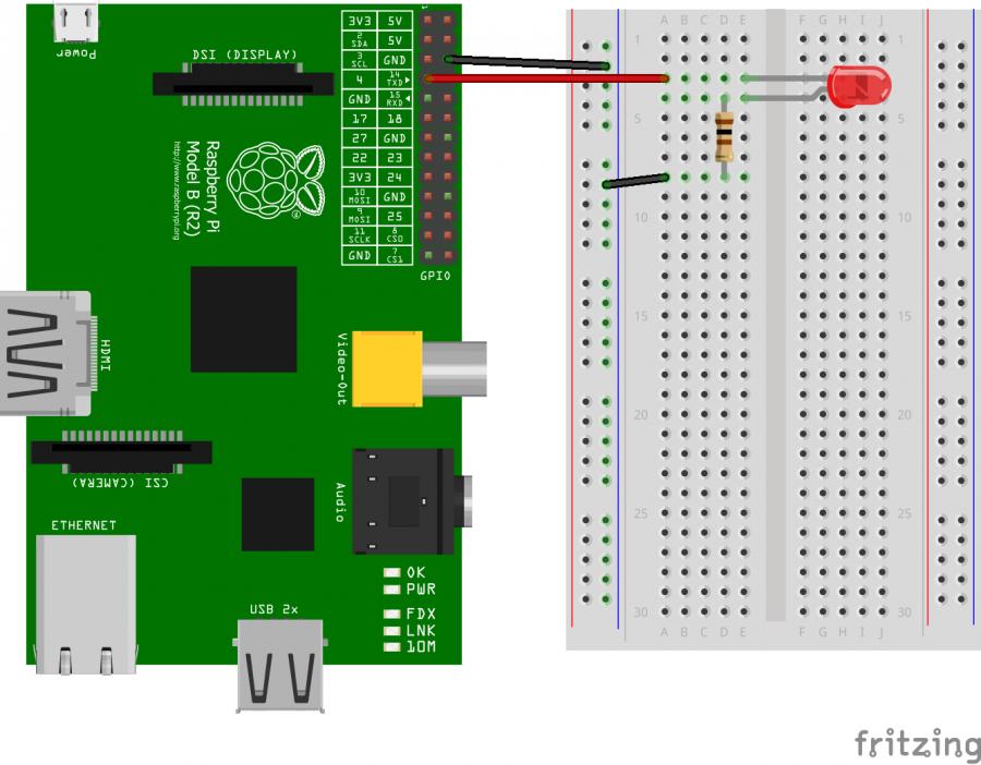 connexion d'une LED à un GPIO du Raspberry pi