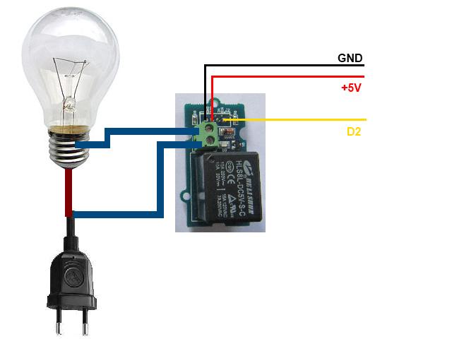 Câblage du relais sur un Arduino