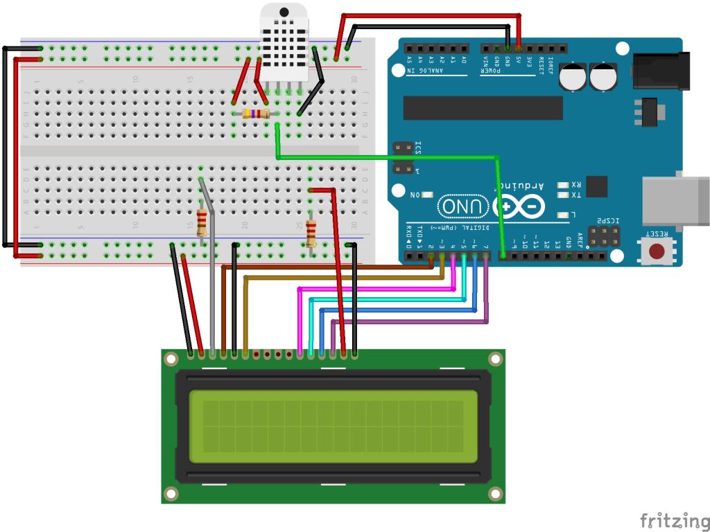 connexion DHT11/22 arduino avec LCD