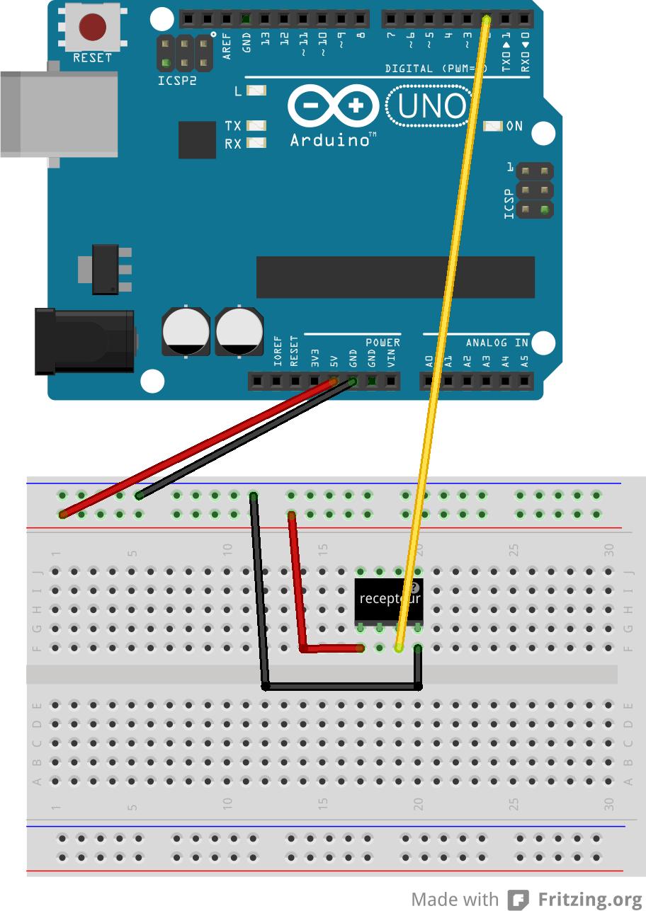 Le récepteur radio branché sur notre Arduino.
