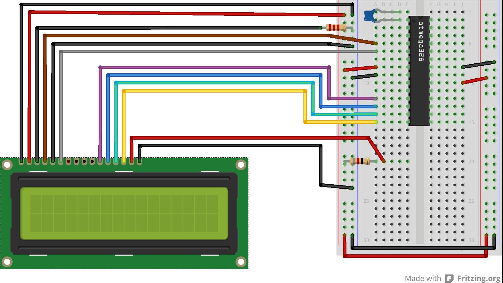 Câblage LCD vers ATmega328p