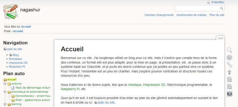 page d'accueil du wiki