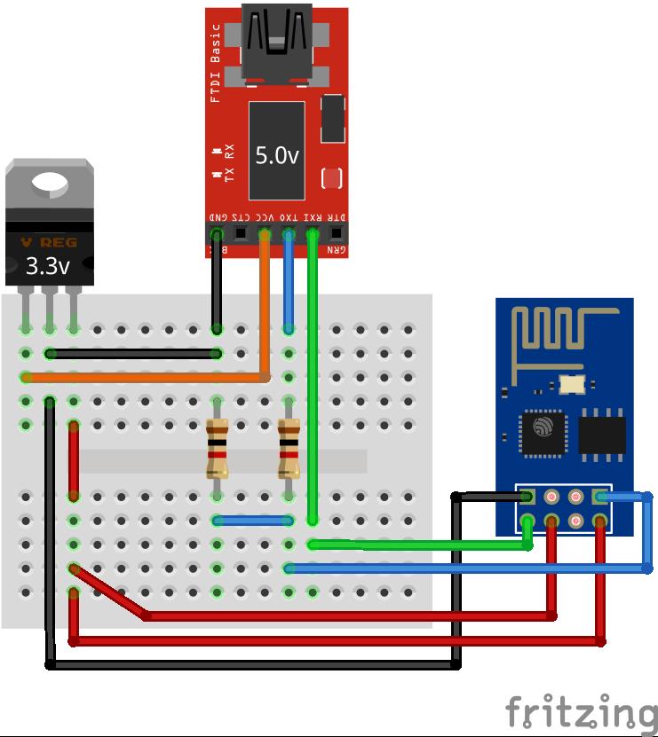 connexion ESP2866 serie-USB 5V avec pont diviseur et régulateur