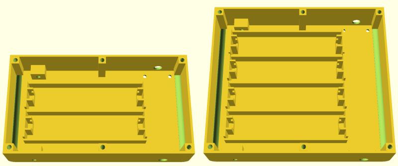 chassis de R.Hasika dans openscad avec 2 et 4 emplacements de batteries, grâce à la conception paramétrique.