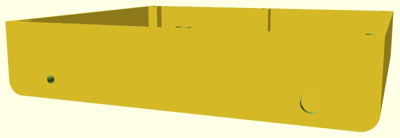 Vue 3/4 latérale du châssis de R.Hasika. On note les bords avant et arrière arrondis.