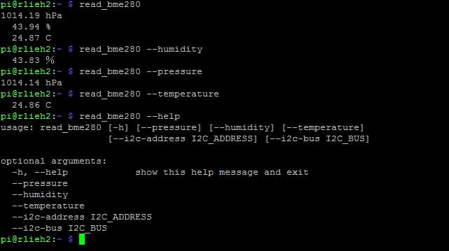 sortie du programme read_BME280 dans un terminal