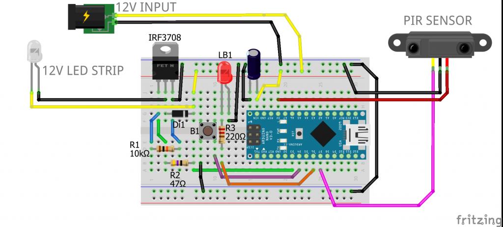 câblage de la rampe à LED intelligente sur une breadboard, schéma fritzing.