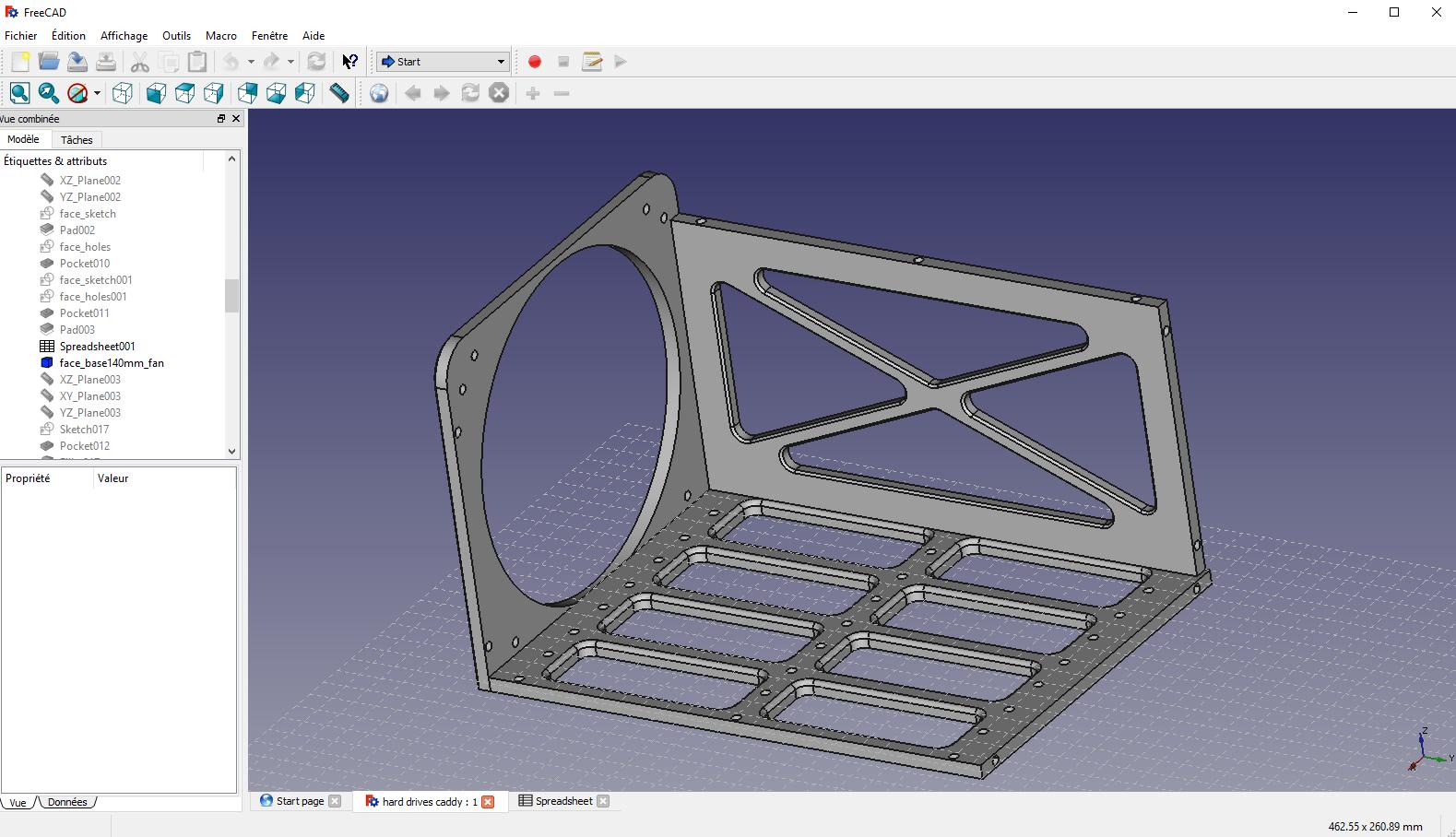 Vue 3D de la cage à disques du NAS