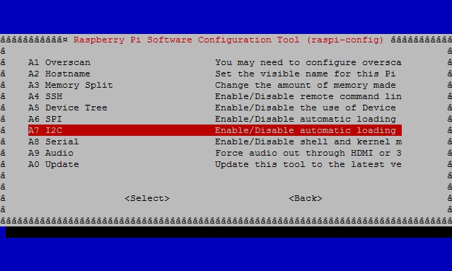 raspi-config/advanced options/i2c