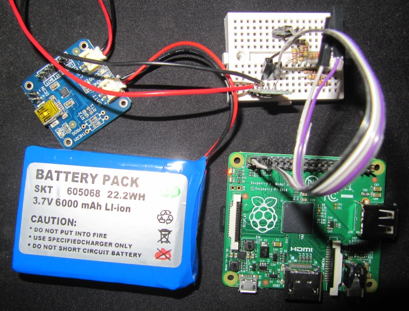 Raspberry pi A+ autonome avec batterie, chargeur et régulateur de tension